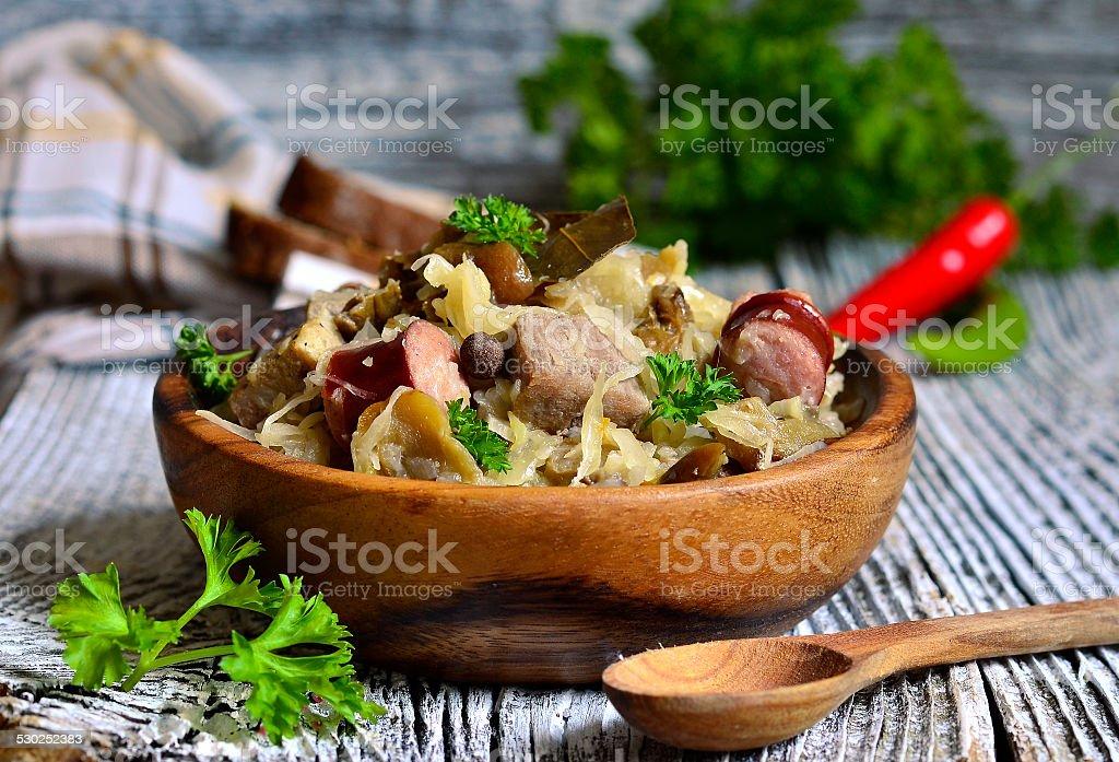 Bigos-traditional dish of polish cuisine. stock photo