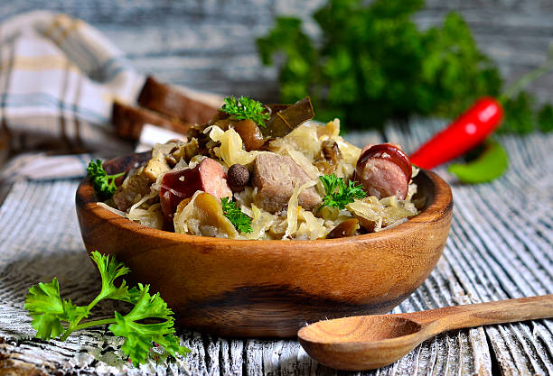 Bigos-traditional dish of polish cuisine. Bigos-traditional dish of polish cuisine from sour and fresh cabbage,meat and mushrooms. polish culture stock pictures, royalty-free photos & images
