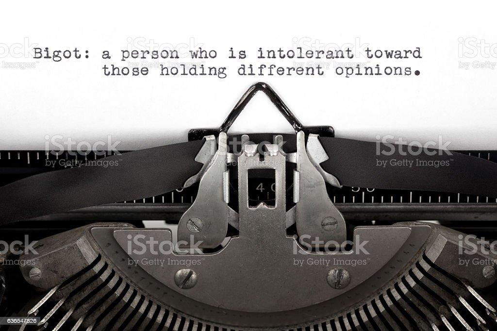 Bigot Definition Typed on a Typewriter stock photo
