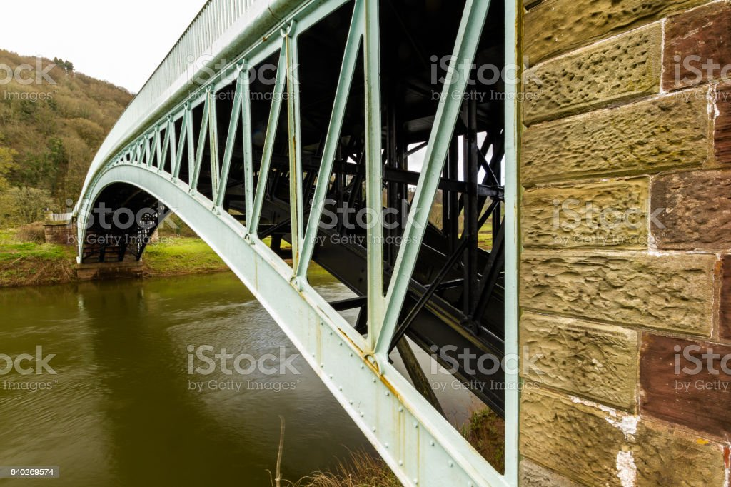 Bigsweir Bridge, beautiful single span iron bridge over the Rive stock photo