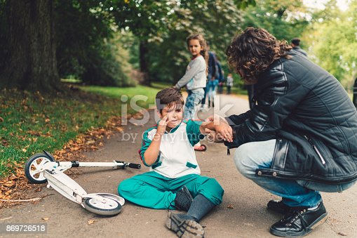 istock Bike accident in the park 869726518