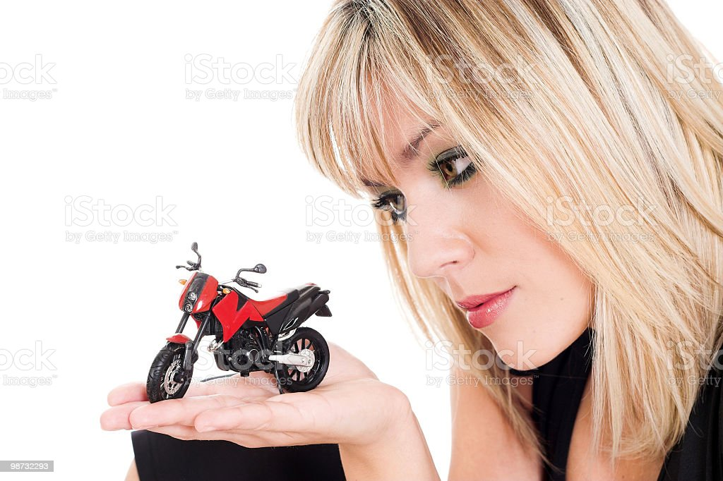 Bike and blonde royalty-free stock photo