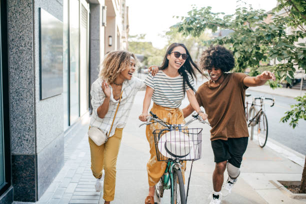 Bike and friends stock photo