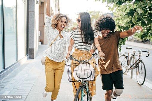 Three friends having good time
