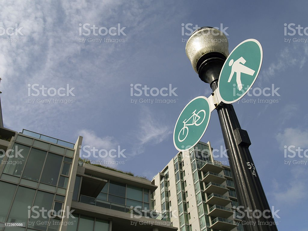 Bike and pedestrian pathway royalty-free stock photo