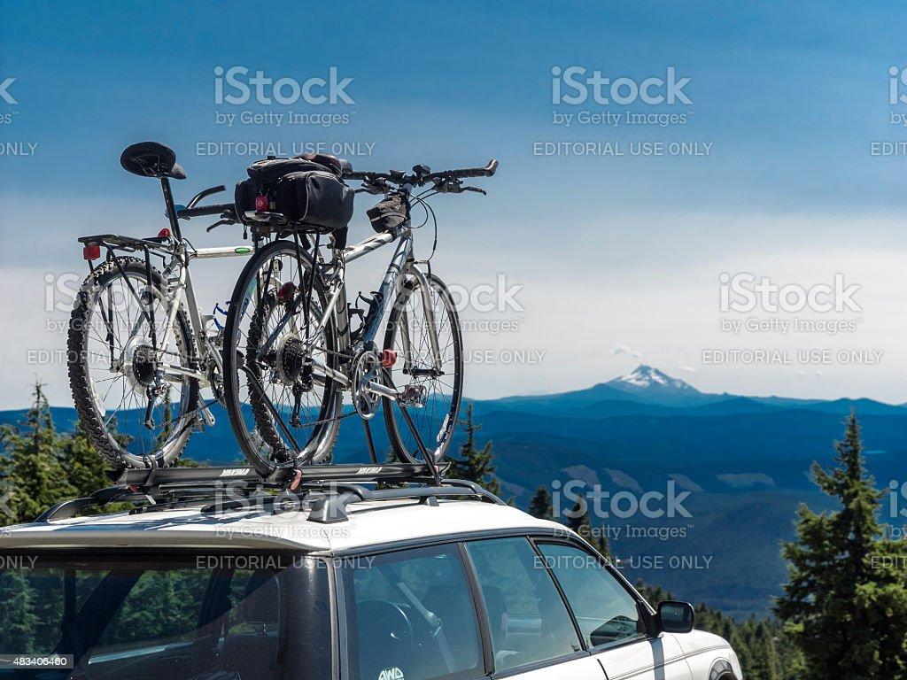 Bike Car Rack Timberline Ski Resort Mount Hood Oregon Summer stock photo