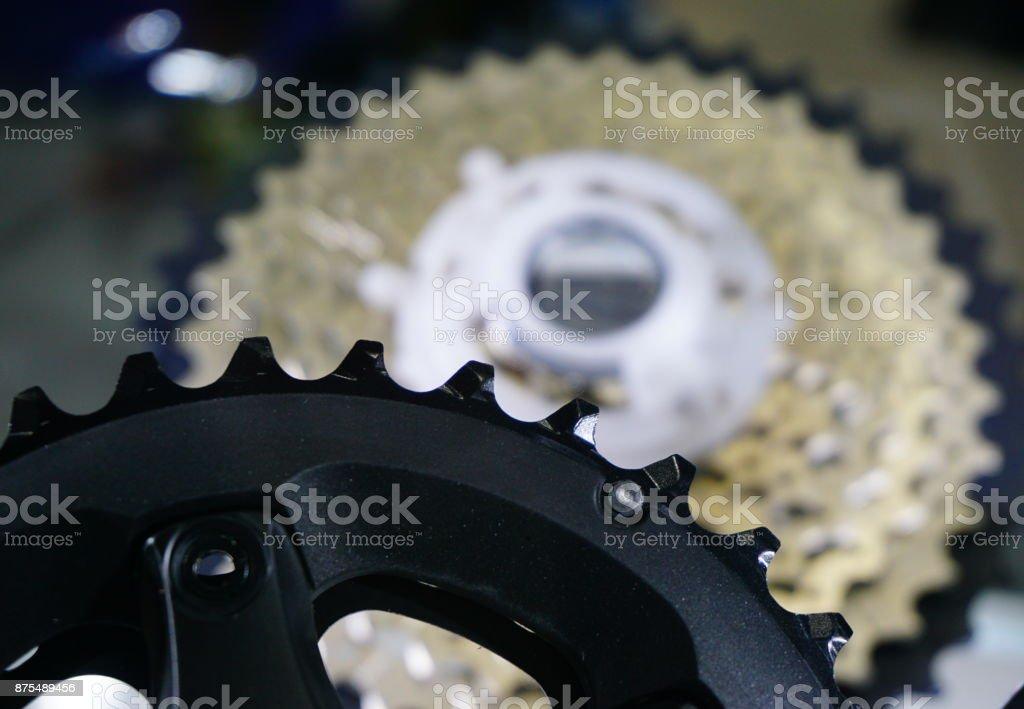 Bike chainset with chain stock photo