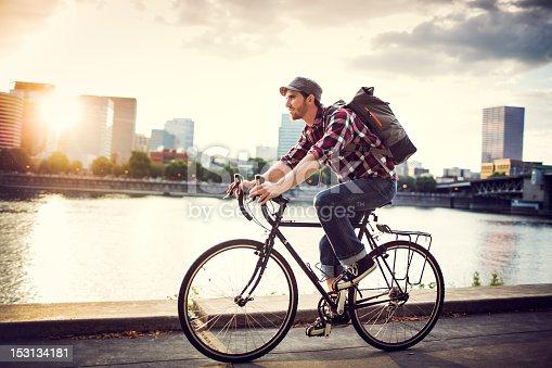 istock Bike Commuter in Portland Oregon 153134181