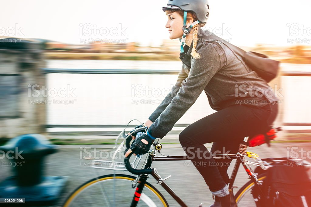 Bike Commuter in Portland Oregon stock photo