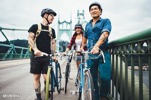 969439086 istock photo Bike Commuters in Portland Oregon on Saint Johns Bridge 481287514