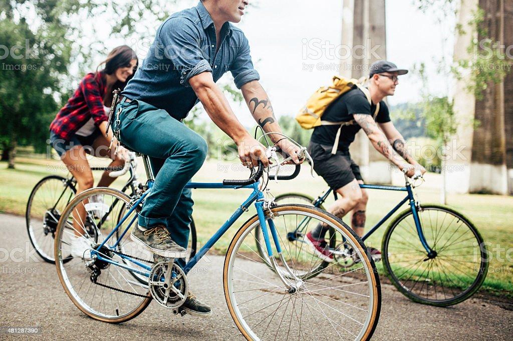 Bike Commuters in Portland Oregon royalty-free stock photo