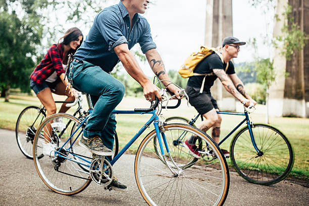 Bike Commuters in Portland Oregon stock photo