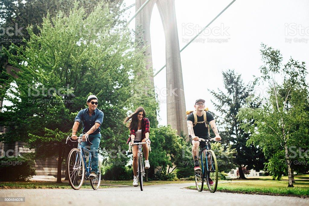 Bike Commuters in Portland Oregon stock photo