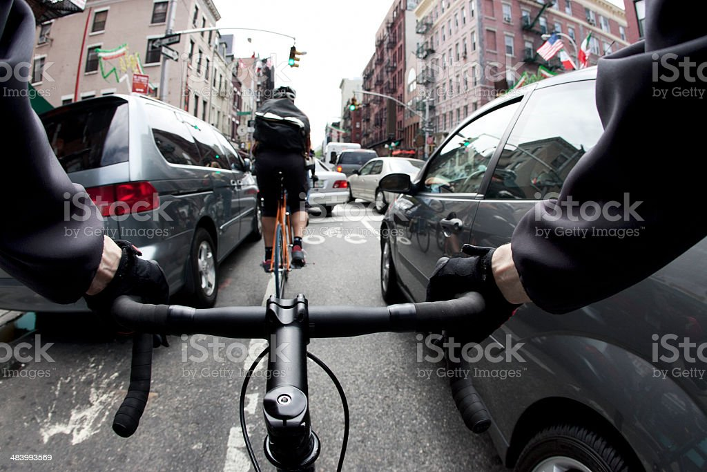 Bike Couriers New York City stock photo