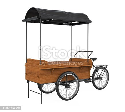Bike Food Cart isolated on white background. 3D render