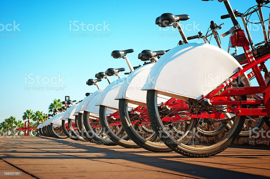 Bike for rent in Barcelona - Spain stock photo