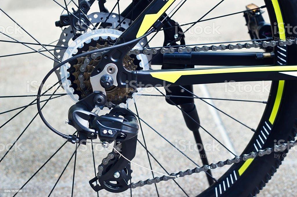 Bike gear and back wheel stock photo