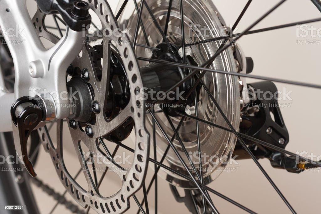 Bike hub of rear wheel, close up view, studio photo stock photo