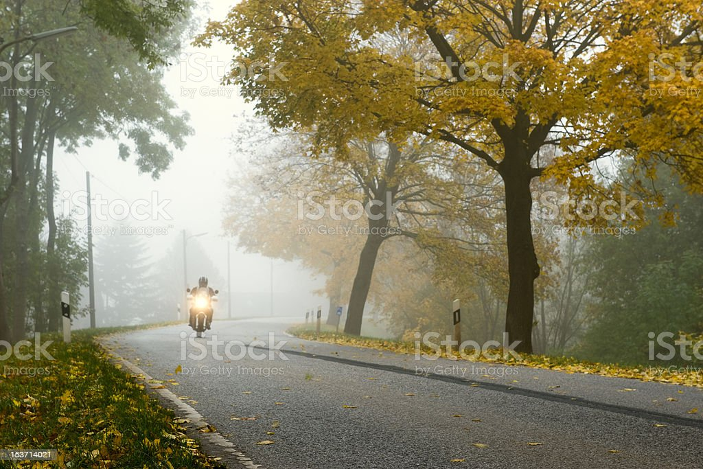 Bike in a foggy morning royalty-free stock photo