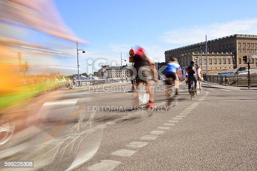 1060957508 istock photo Bike in city, motion blur 599225308