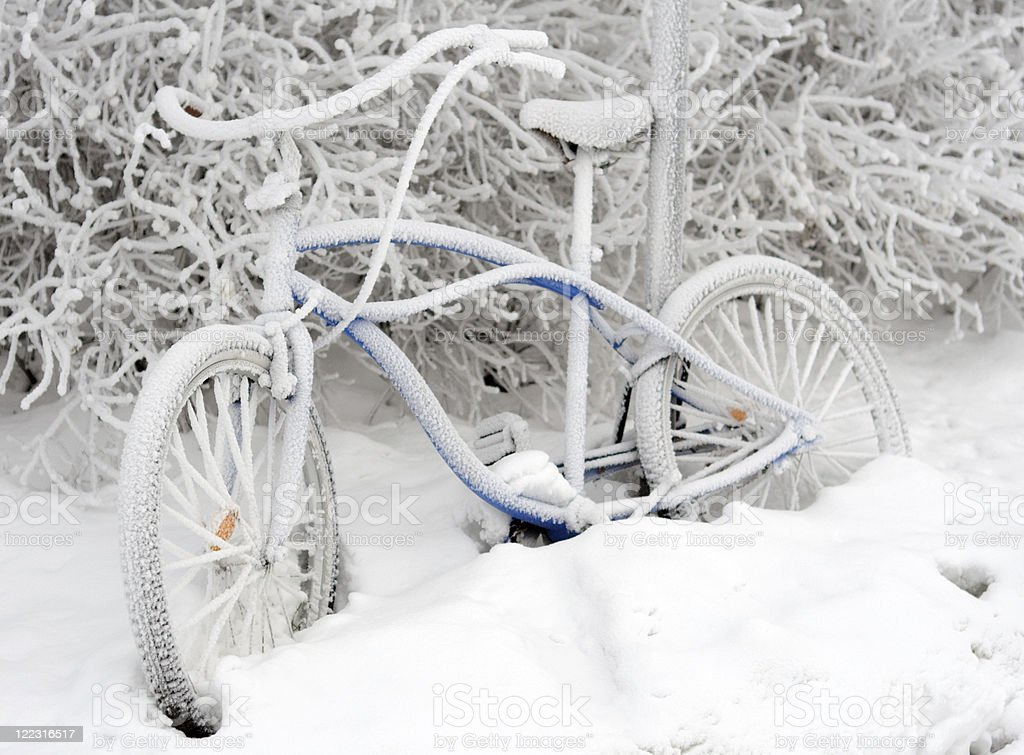 Bike in snow stock photo
