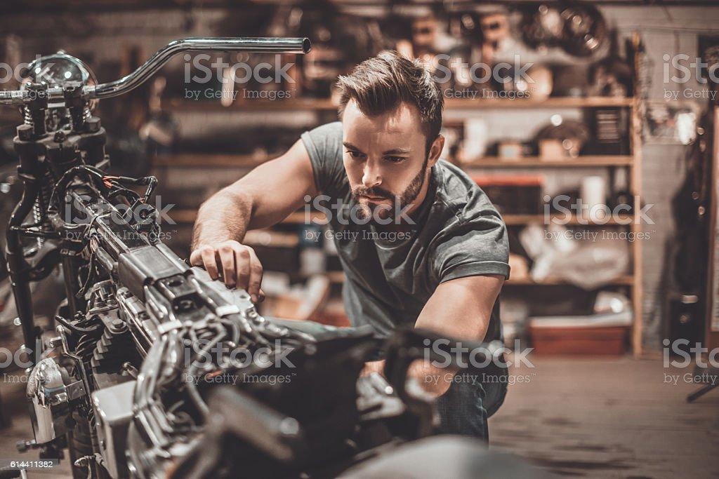 Bike is his life. stock photo