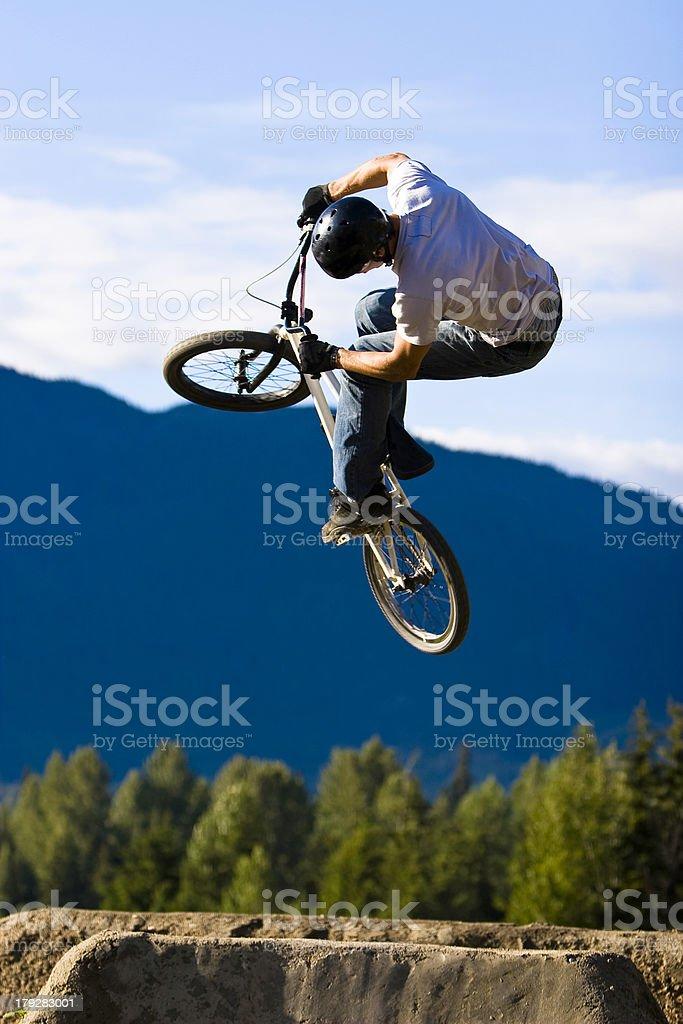 BMX bike jump spin 1 stock photo
