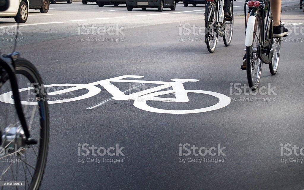 Bike lane and traffic stock photo