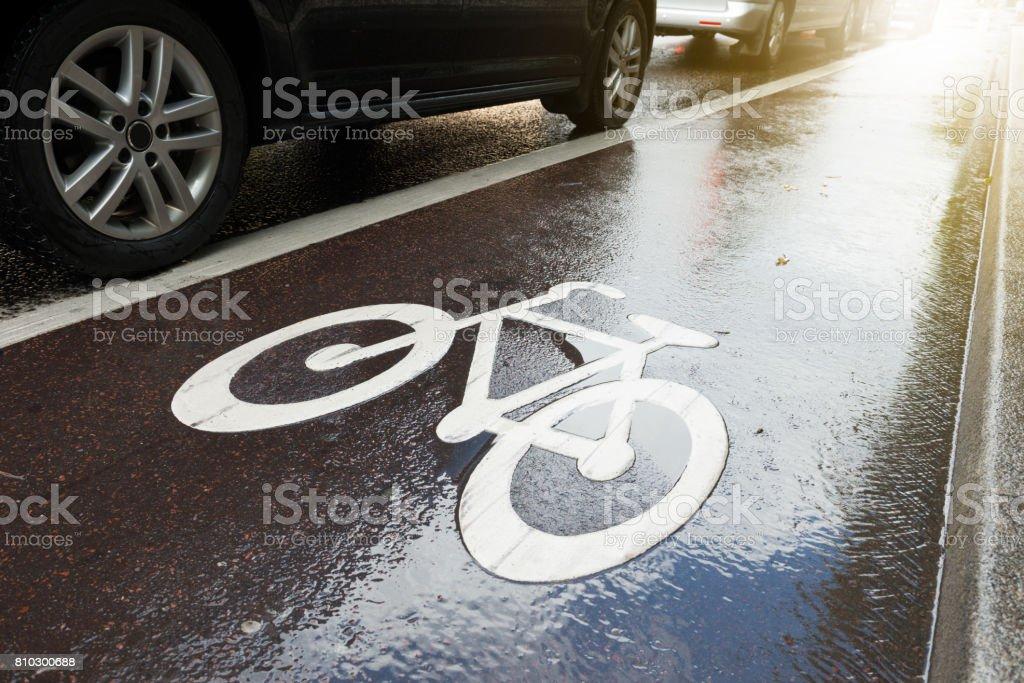 Bike lane, cars in queue stock photo