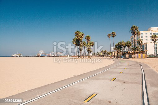 Bike lane down the Venice beach in LA. Beautiful beach in California. Californication.
