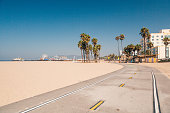 Bike lane down the Venice beach in LA. Beautiful beach in California. Californication.