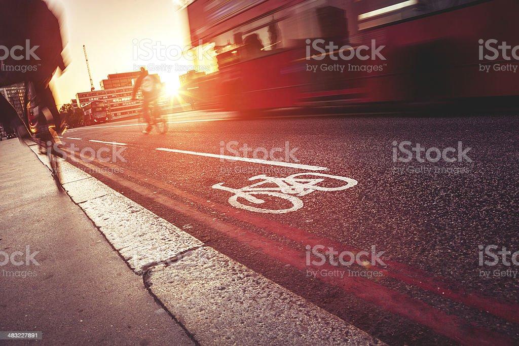 Bike lane in London, Westminster Bridge stock photo