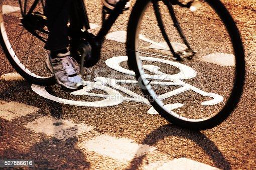 667005568istockphoto Bike lane in the evening 527886616