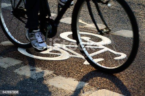 667005568 istock photo Bike lane in the evening 542697938