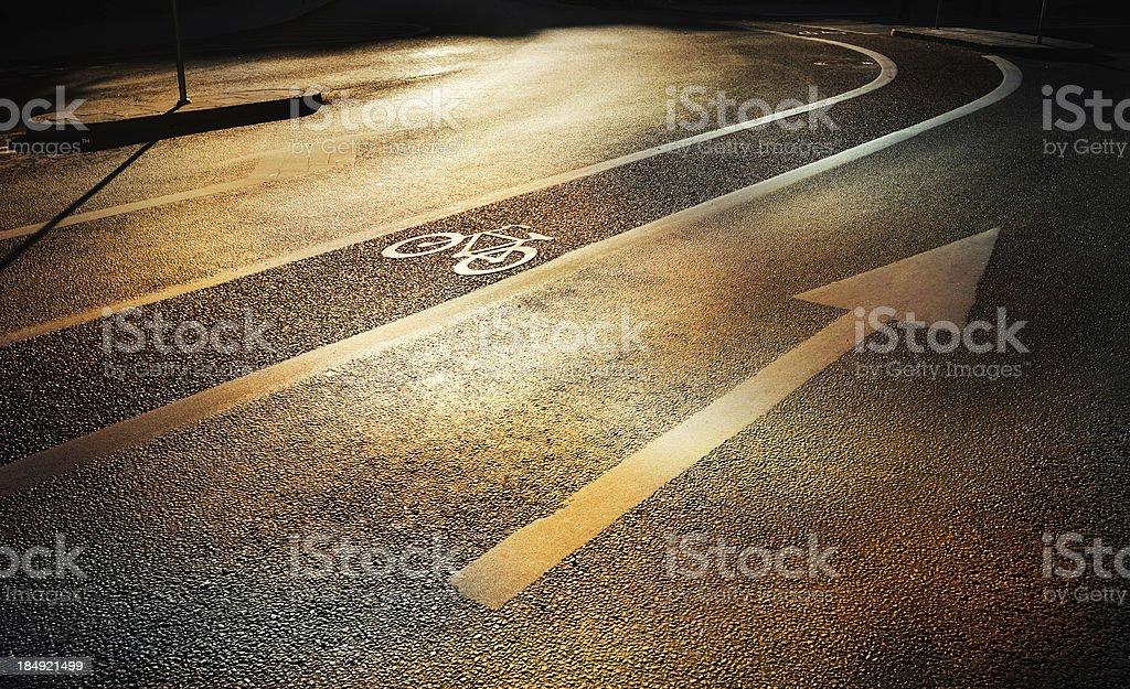 Bike lane in the fall evening stock photo