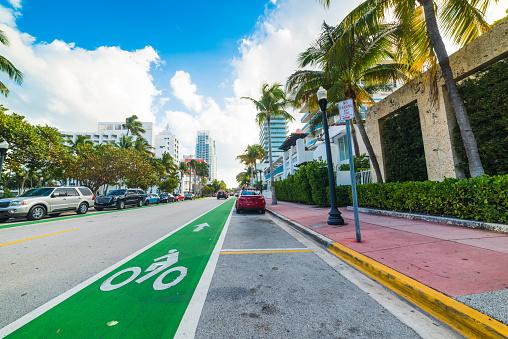 Bike lane in world famous Miami Beach. Southern Florida, USA
