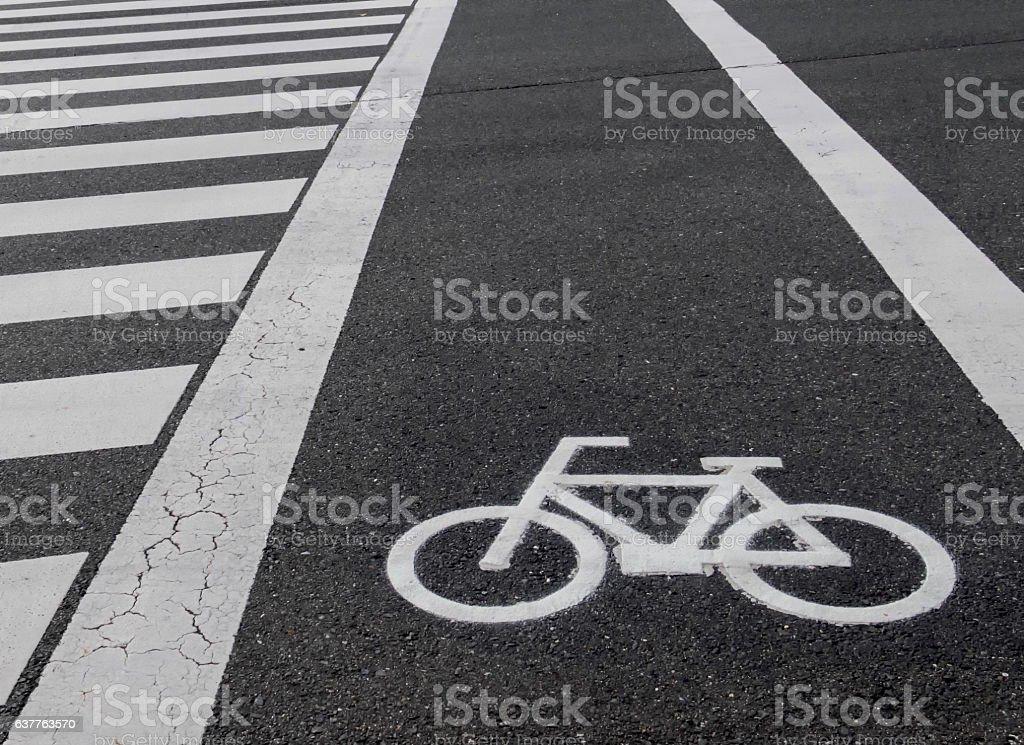 Bike Lane Or Bicycle Lane Signage On Street Stock Photo More