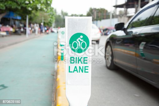 Bike lane, road for bicycles in the city (bicycle, sign, traffic)