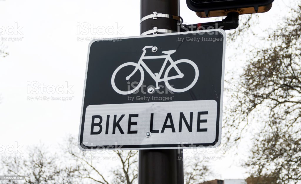 Bike lane sign on a pole - Royalty-free Bicycle Stock Photo