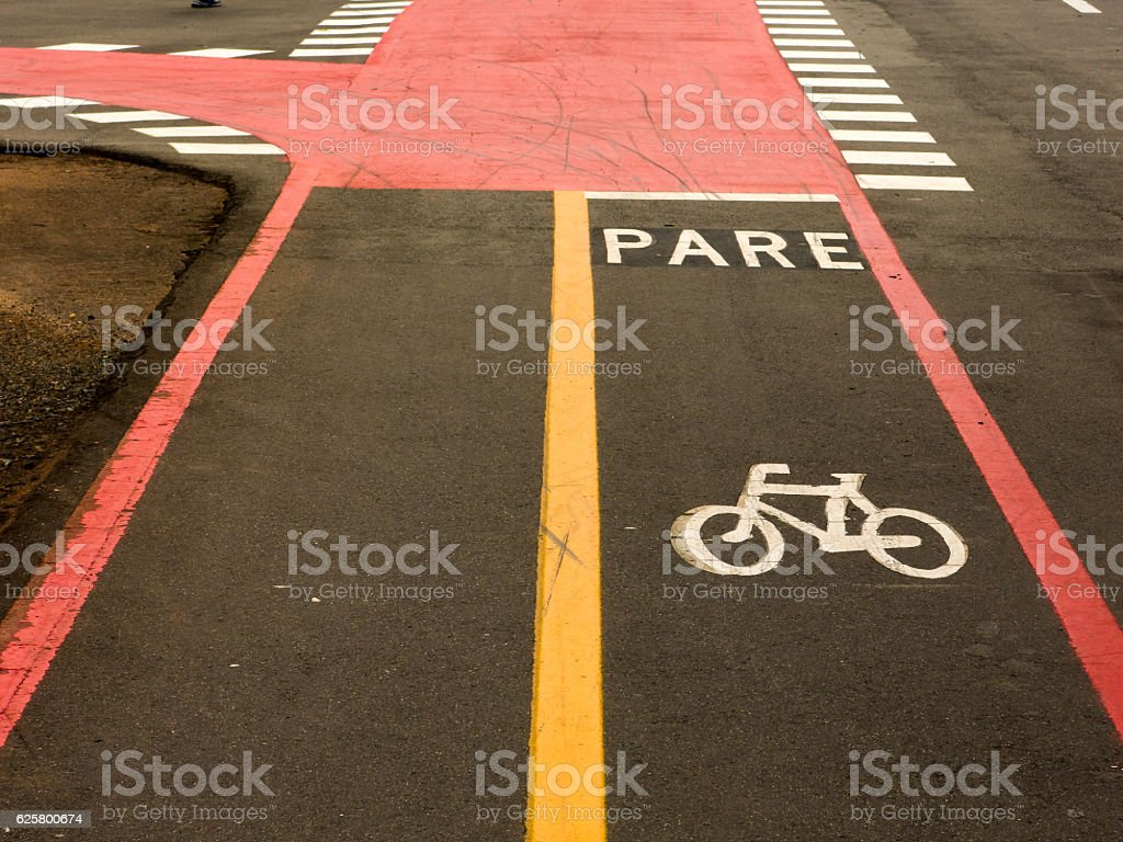 Bike Lane signs on streets ground stock photo