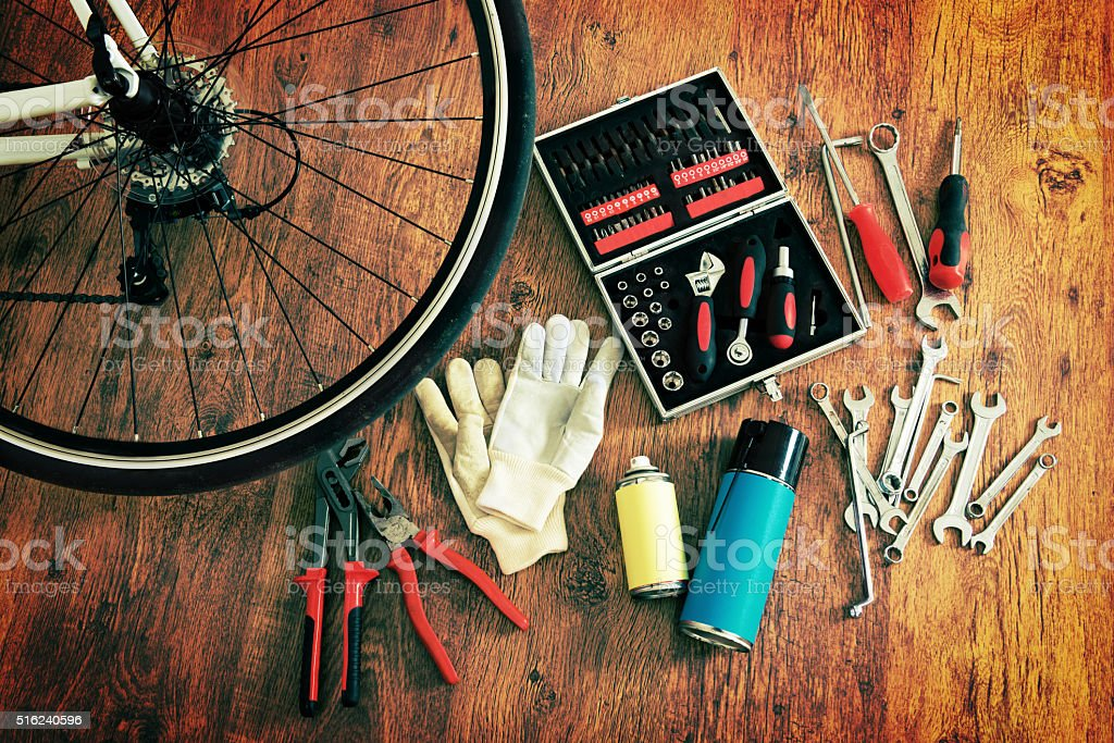 Bike maintenance stock photo
