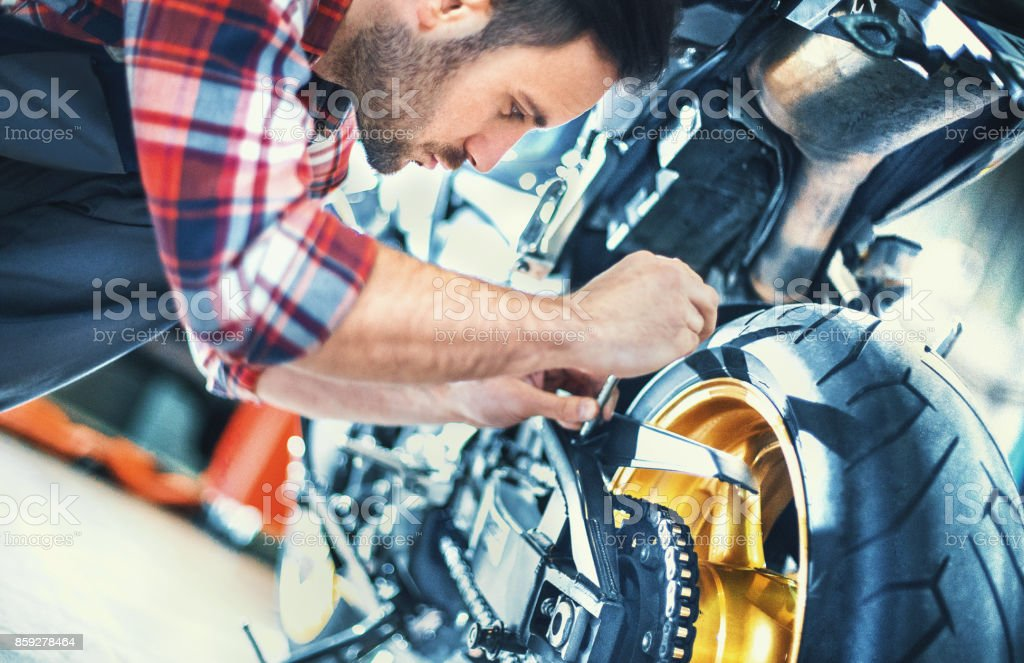 Bike mechanic. stock photo