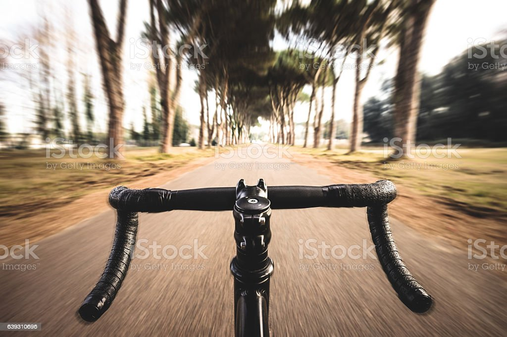 bike moving with nobody stock photo