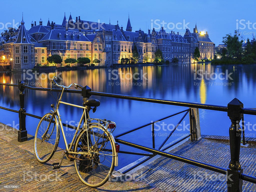 Bike on canal, The Hague stock photo