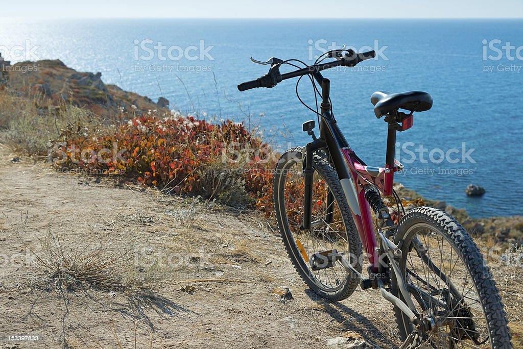 Bike on coastline royalty-free stock photo