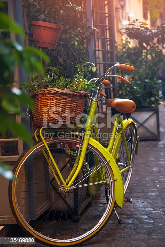 bike on the street in Rome. Italy.