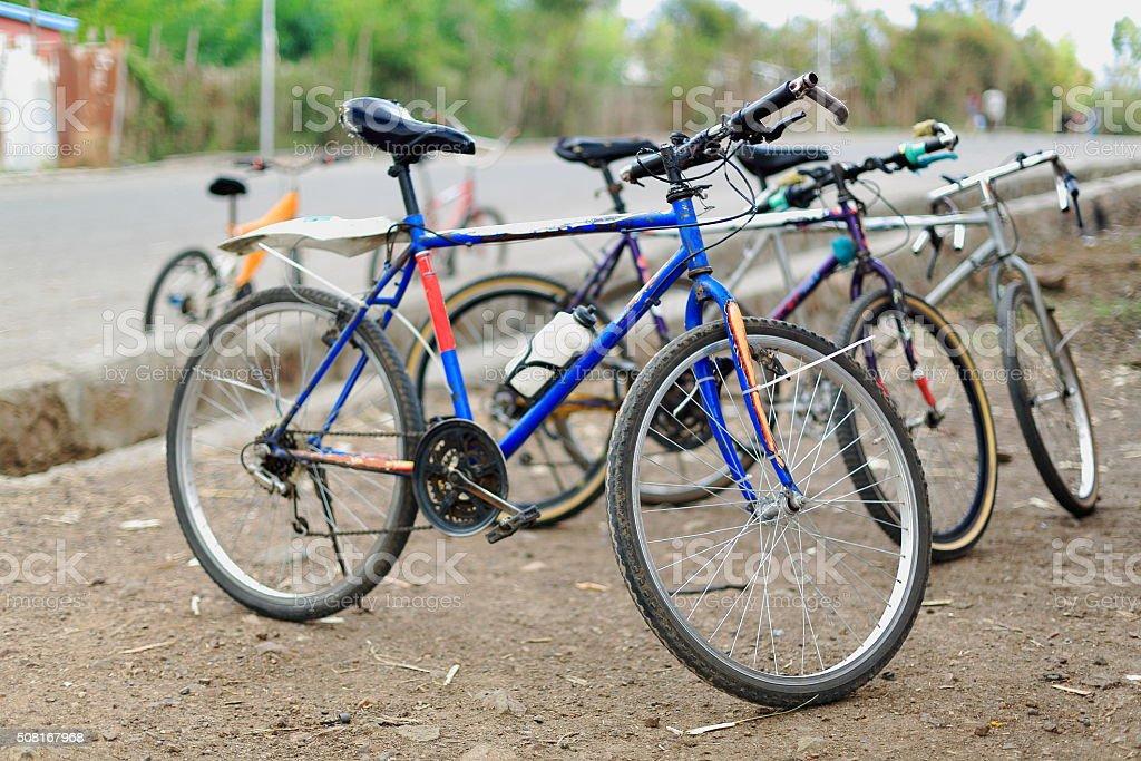 Bike parking-Gebriel Bete church. Kombolcha-Ethiopia. 0074 stock photo