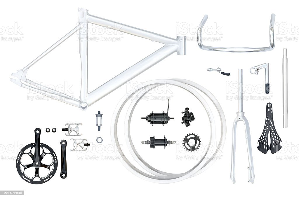 Bike parts set stock photo