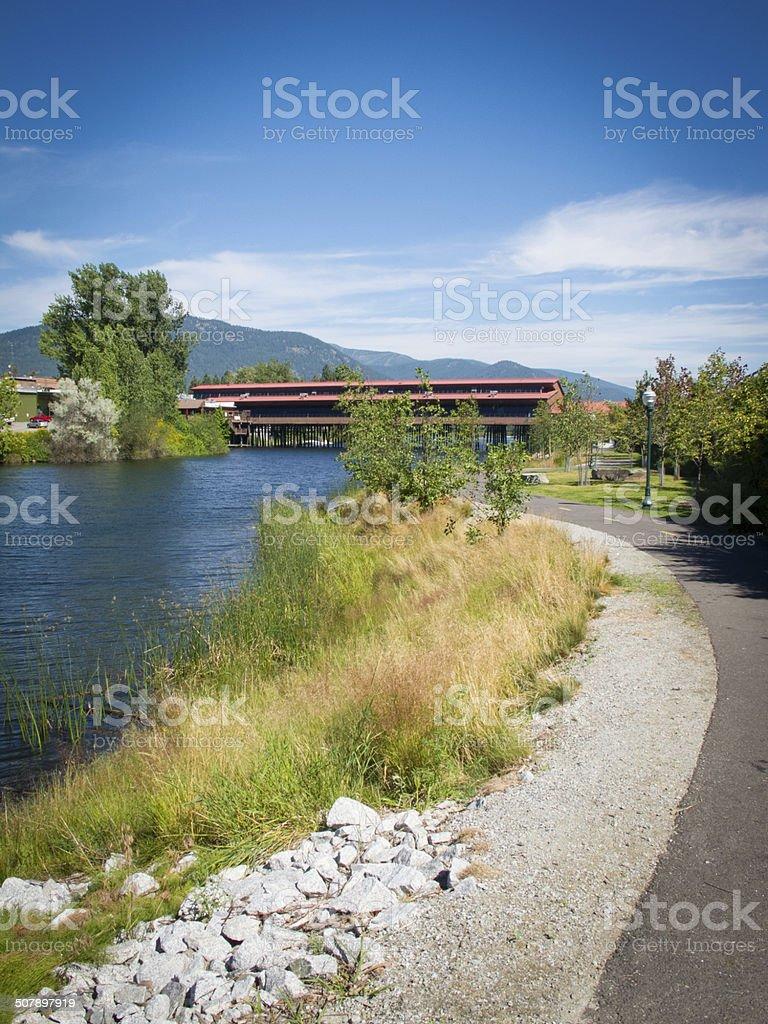 Bike path along Sand Creek in Sandpoint Idaho. stock photo