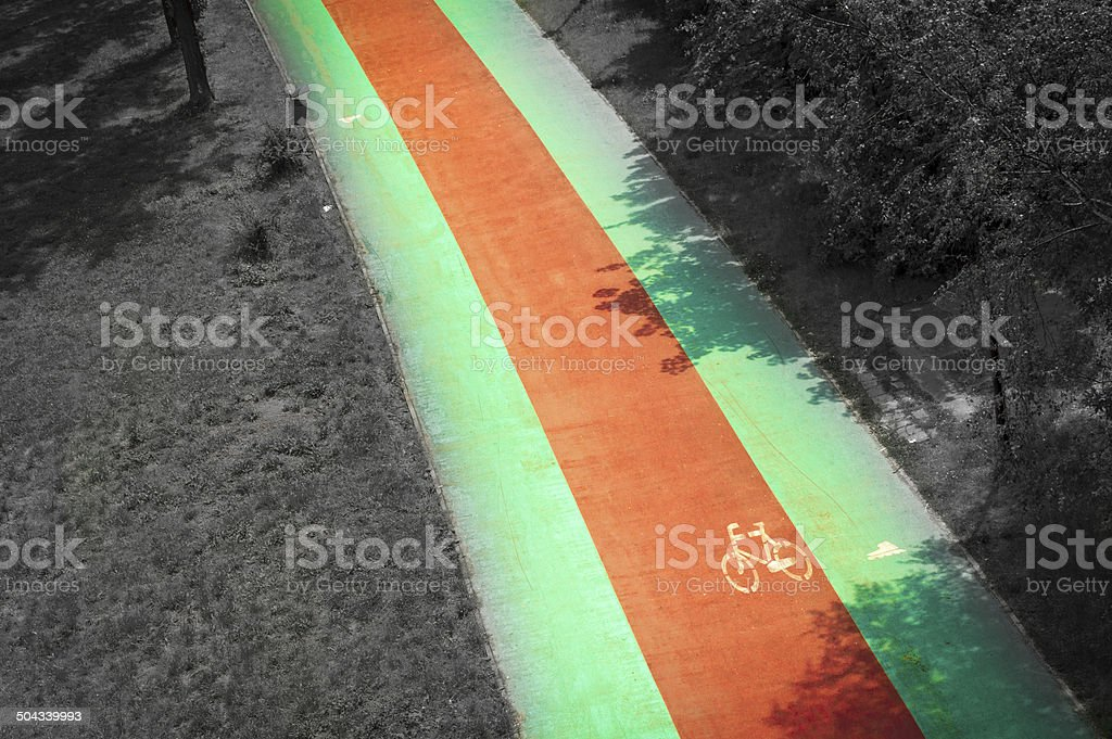 Bike path in the Park stock photo